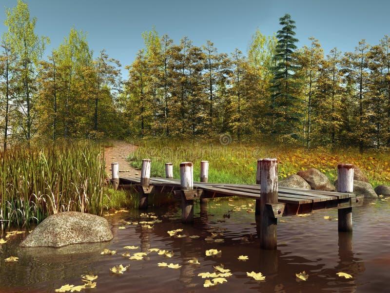 Ξύλινη αποβάθρα σε μια λίμνη με τα φύλλα απεικόνιση αποθεμάτων