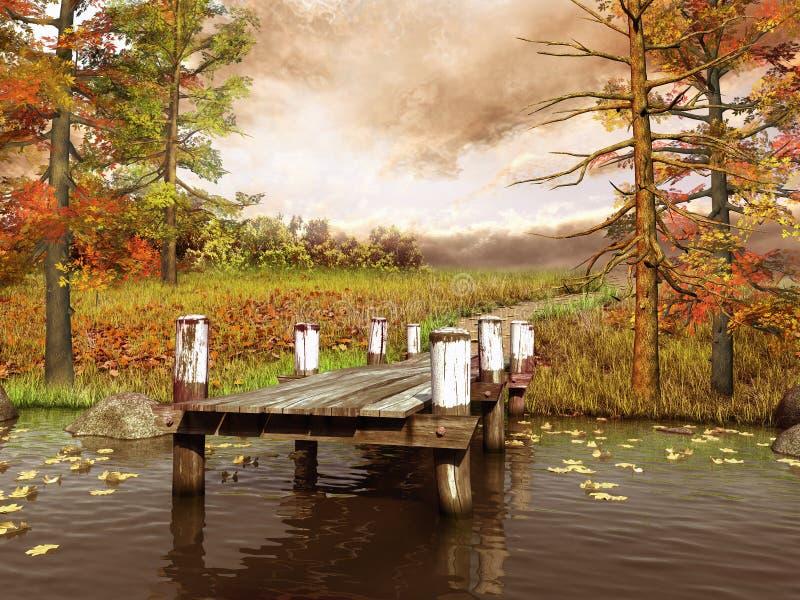 Ξύλινη αποβάθρα στα ζωηρόχρωμα δάση διανυσματική απεικόνιση