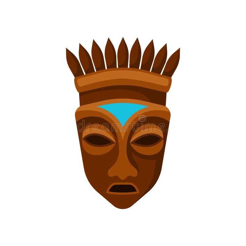 Ξύλινη αφρικανική μάσκα που διακοσμείται με την κορώνα Σύμβολο εθνικού φυλετικού Επίπεδο διανυσματικό στοιχείο για το κινητή παιχ ελεύθερη απεικόνιση δικαιώματος