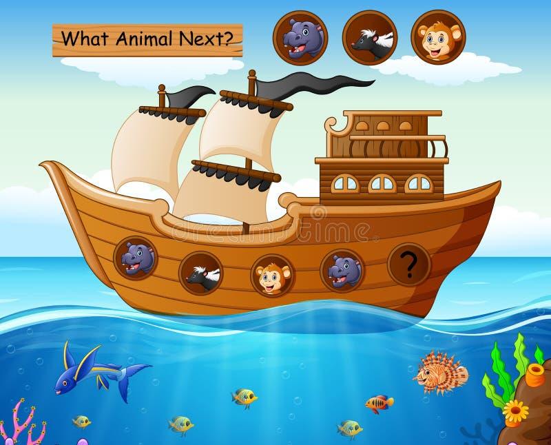 Ξύλινη βάρκα που πλέει με το θέμα ζώων διανυσματική απεικόνιση