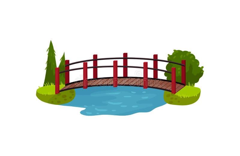 Ξύλινη γέφυρα πέρα από την μπλε λίμνη ή τον ποταμό Γέφυρα για πεζούς ξυλείας, πράσινα δέντρα, ο Μπους και χλόη Στοιχείο τοπίων Επ διανυσματική απεικόνιση