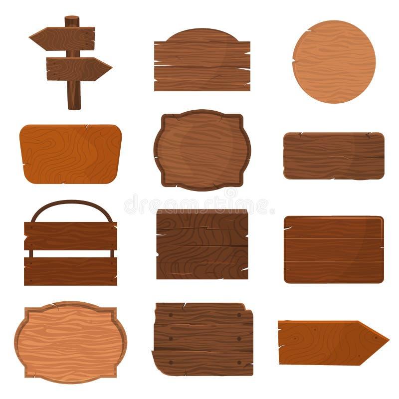 Ξύλινη διανυσματική απεικόνιση επιτροπών πινακίδων ξύλινη Παλαιοί ξύλινοι πίνακες σημαδιών κινούμενων σχεδίων εμβλημάτων κενοί πο διανυσματική απεικόνιση