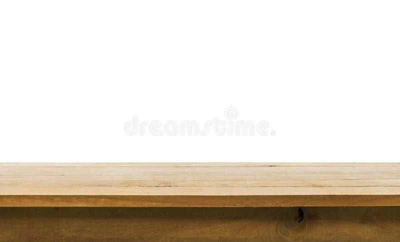Ξύλινη επιτραπέζια κορυφή στο άσπρο υπόβαθρο Για δημιουργήστε την επίδειξη προϊόντων στοκ εικόνα με δικαίωμα ελεύθερης χρήσης