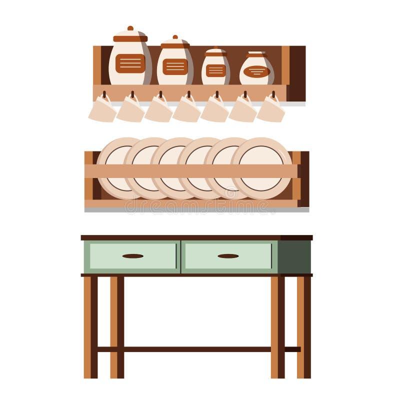 Ξύλινη εσωτερική σκηνή επίπλων κουζινών αγροτική που απομονώνεται στο άσπρο υπόβαθρο: ράφια με τα βάζα, φλυτζάνια, πιάτα, πίνακας απεικόνιση αποθεμάτων