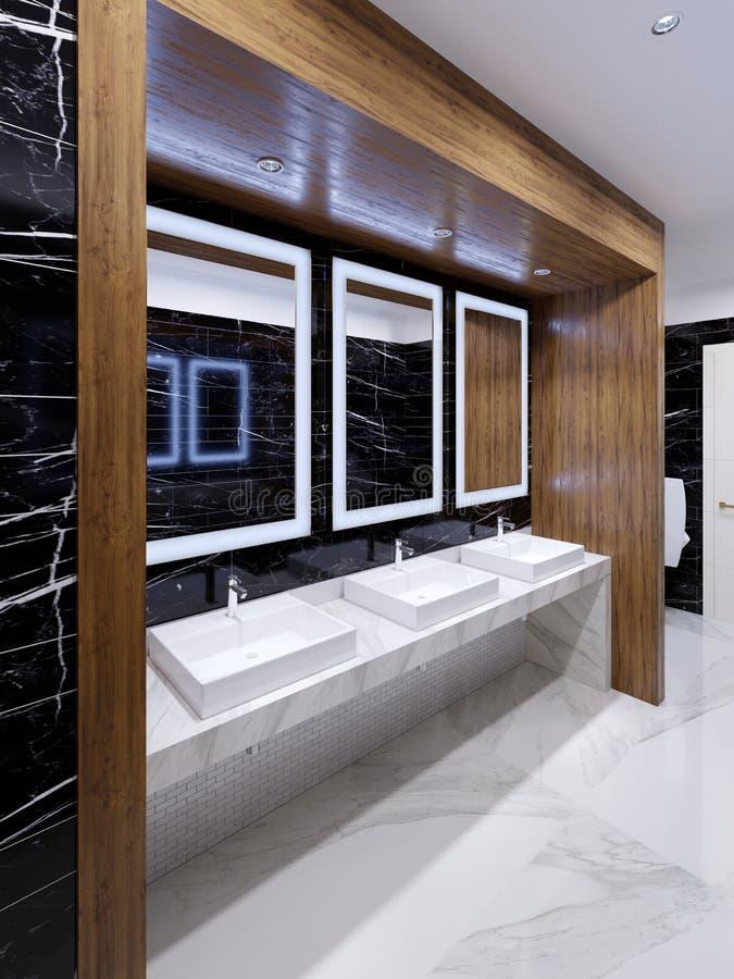 Ξύλινη θέση με τους καθρέφτες, τα φω'τα και τους νεροχύτες στον τοίχο του μαύρου μαρμάρου σε μια δημόσια τουαλέτα απεικόνιση αποθεμάτων