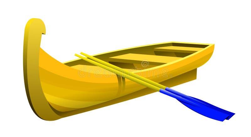 Ξύλινη κίτρινη βάρκα διανυσματική απεικόνιση