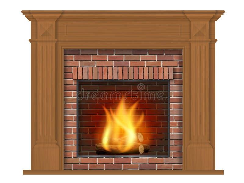 Ξύλινη κλασική εστία με το ξύλινο ντεκόρ ελεύθερη απεικόνιση δικαιώματος