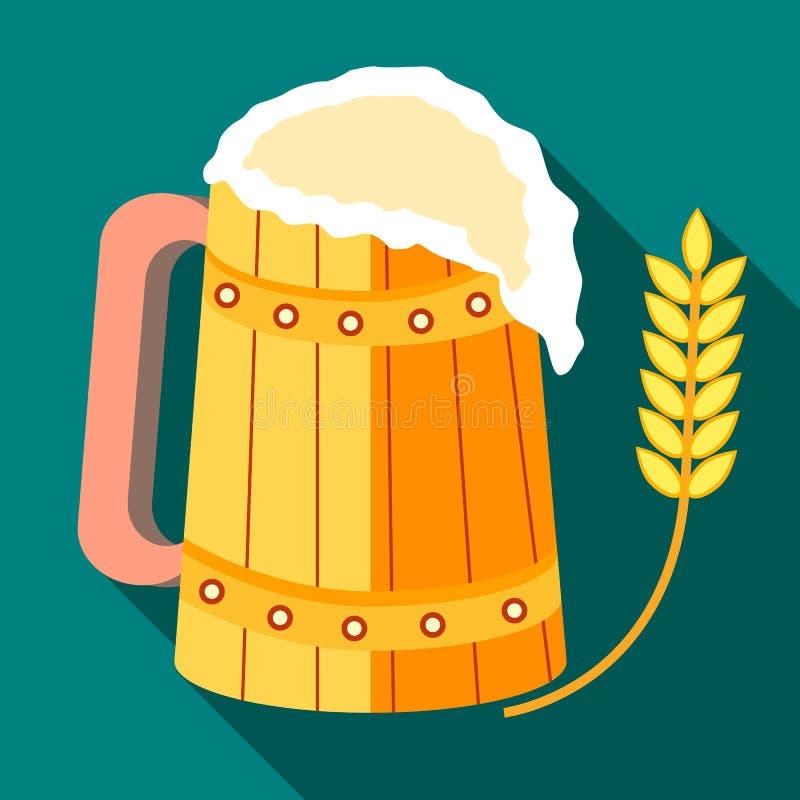 Ξύλινη κούπα της μπύρας και μίσχος του ώριμου εικονιδίου κριθαριού απεικόνιση αποθεμάτων