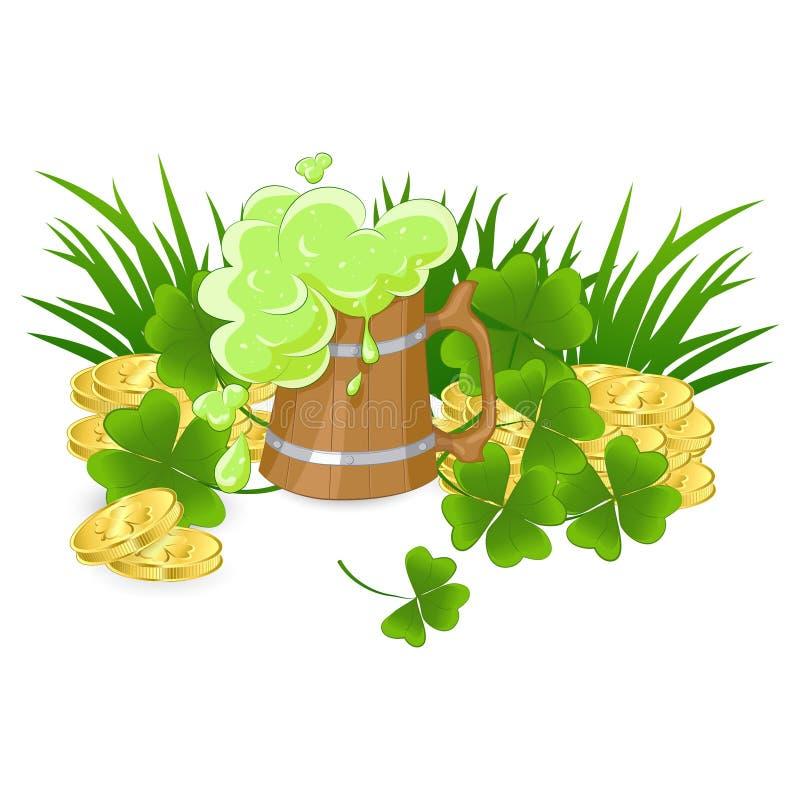 Ξύλινη κούπα της πράσινης μπύρας απεικόνιση αποθεμάτων