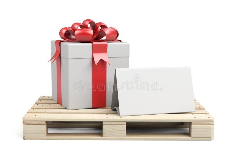 Ξύλινη παλέτα με κουτί δώρων, κορδέλες και κόκκινο τόξο Με ένα πρότυπο για συγχαρητήρια απεικόνιση αποθεμάτων