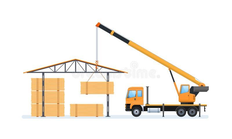 Ξύλινη παραγωγή, δασονομία Μηχανή για και στην αποθήκη εμπορευμάτων διανυσματική απεικόνιση