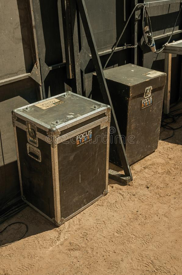 Ξύλινη περίπτωση για το μουσικό εξοπλισμό στο ρωμαϊκό θέατρο του Μέριντα στοκ φωτογραφία με δικαίωμα ελεύθερης χρήσης