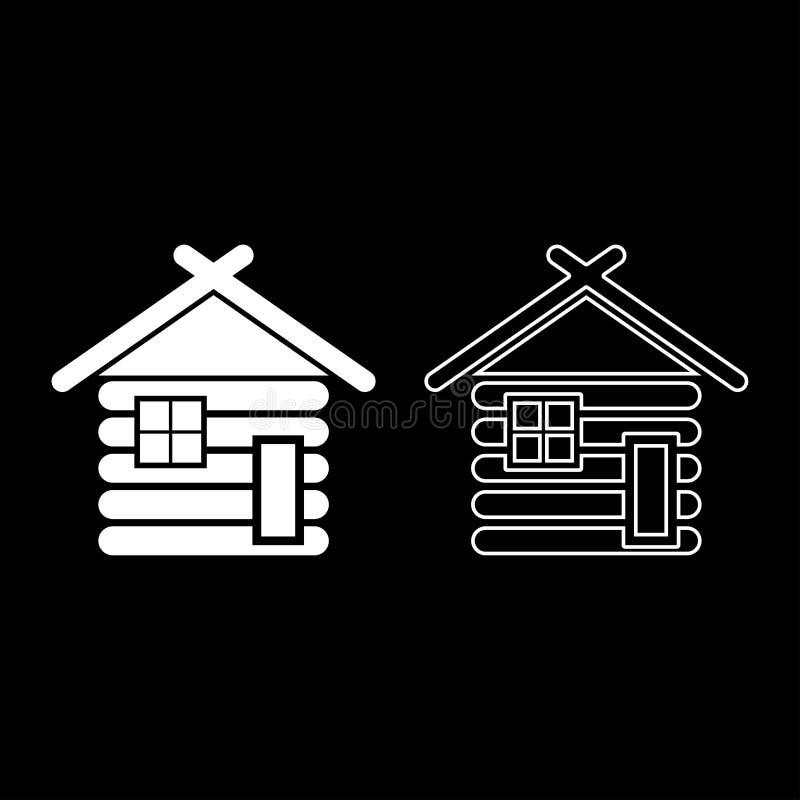 Ξύλινη σιταποθήκη σπιτιών με την ξύλινη μορφωματική κούτσουρων καμπινών ξύλινη καμπινών μορφωματική εγχώριων εικονιδίων καθορισμέ διανυσματική απεικόνιση