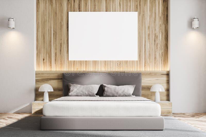 Ξύλινη Σκανδιναβική κρεβατοκάμαρα τοίχων, αφίσα ελεύθερη απεικόνιση δικαιώματος