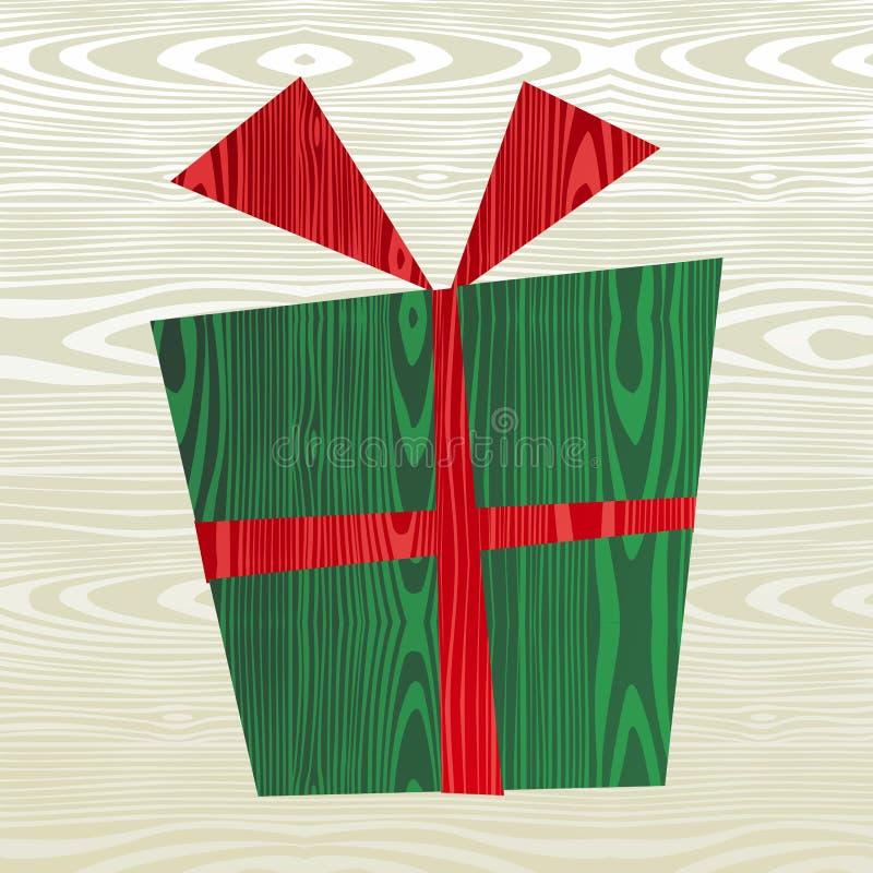 Ξύλινη σκιαγραφία δώρων Χριστουγέννων διανυσματική απεικόνιση