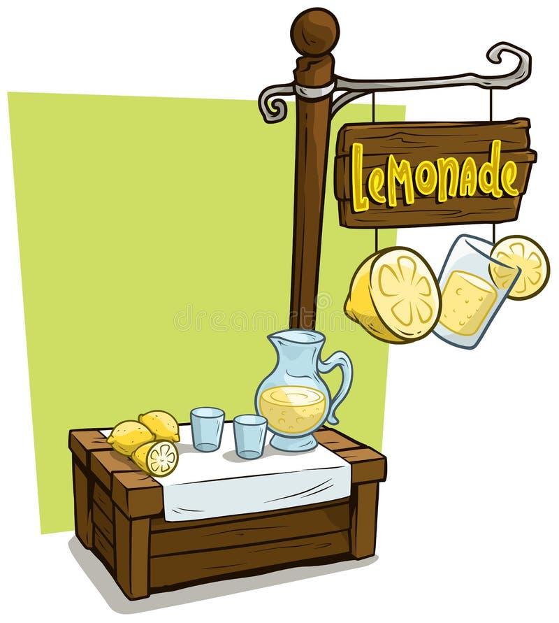 Ξύλινη στάση αγοράς θαλάμων προμηθευτών λεμονάδας κινούμενων σχεδίων ελεύθερη απεικόνιση δικαιώματος