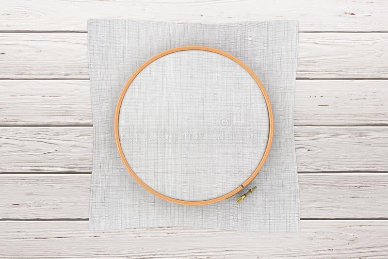 Ξύλινη στεφάνη για τη διαγώνια βελονιά Ένα πλαίσιο Tambour για την κεντητική και καμβάς με ελεύθερου χώρου για το σχέδιό σας τρισ απεικόνιση αποθεμάτων