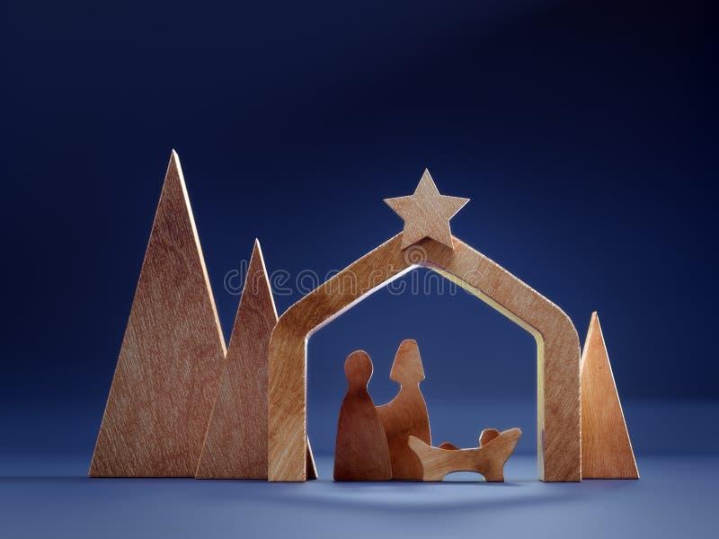 Ξύλινη χριστουγεννιάτικη κούνια στοκ φωτογραφία