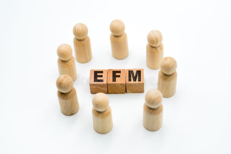 Ξύλινοι αριθμοί ως επιχειρησιακή ομάδα στον κύκλο γύρω από τη διαχείριση επιχειρηματικής ανατροφοδότησης αρκτικολέξων EFM στοκ εικόνα