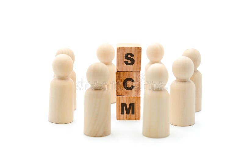 Ξύλινοι αριθμοί ως επιχειρησιακή ομάδα στον κύκλο γύρω από τη διαχείριση αλυσιδών εφοδιασμού αρκτικολέξων SCM στοκ εικόνες