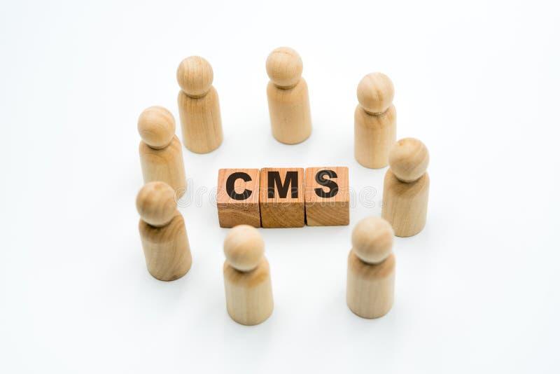 Ξύλινοι αριθμοί ως επιχειρησιακή ομάδα στον κύκλο γύρω από το ικανοποιημένο σύστημα διαχείρισης αρκτικολέξων CMS στοκ φωτογραφίες