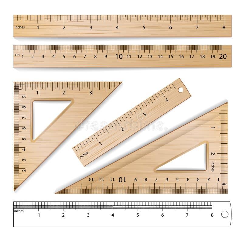 Ξύλινοι κυβερνήτες καθορισμένοι διανυσματικοί Μετρικός αυτοκρατορικός Εκατοστόμετρο, ίντσα απεικόνιση αποθεμάτων