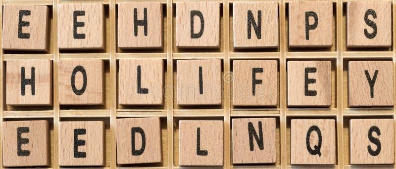 Ξύλινοι κύβοι με τη ζωή λέξης σε το στοκ φωτογραφίες