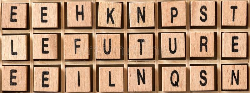 Ξύλινοι κύβοι με το μέλλον λέξης σε το στοκ εικόνα
