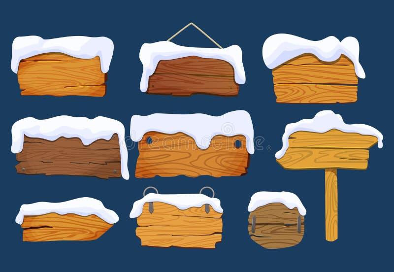 Ξύλινοι πίνακες σημαδιών με το χιόνι Καθορισμένες διαφορετικές ξύλινες μορφές πινάκων σημαδιών, διανυσματικά στοιχεία Απεικόνιση  ελεύθερη απεικόνιση δικαιώματος