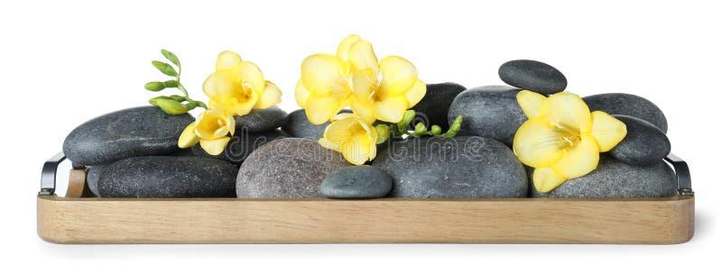 Ξύλινος δίσκος με τις πέτρες SPA και τα λουλούδια freesia στοκ φωτογραφίες με δικαίωμα ελεύθερης χρήσης