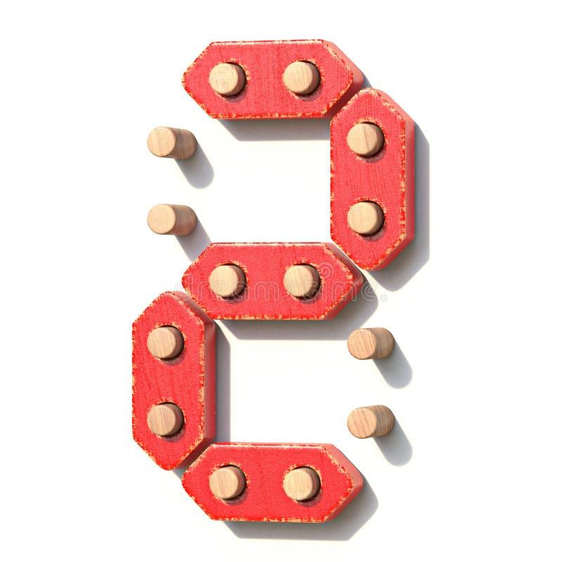 Ξύλινος κόκκινος ψηφιακός αριθμός 2 ΔΥΟ παιχνιδιών τρισδιάστατα διανυσματική απεικόνιση