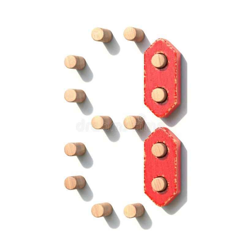 Ξύλινος κόκκινος ψηφιακός αριθμός 1 ΕΝΑ παιχνιδιών τρισδιάστατο διανυσματική απεικόνιση
