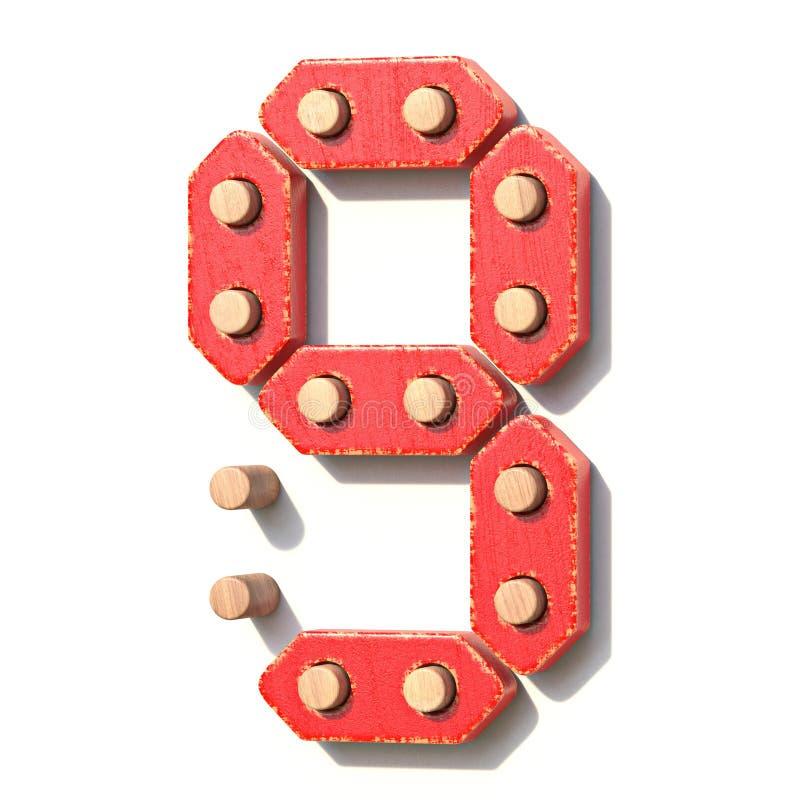 Ξύλινος κόκκινος ψηφιακός αριθμός 9 ΕΝΝΕΑ παιχνιδιών τρισδιάστατα απεικόνιση αποθεμάτων