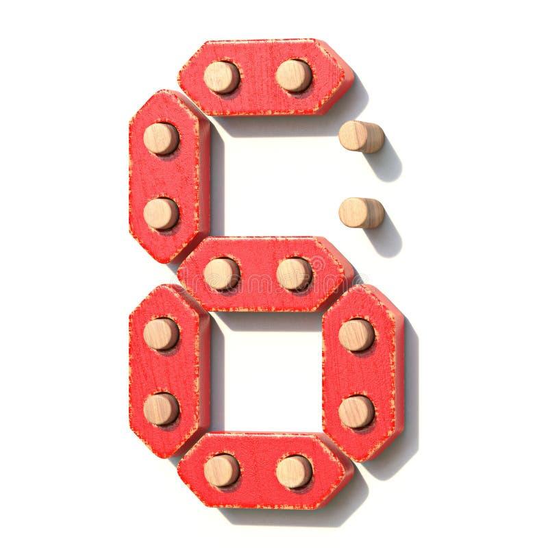 Ξύλινος κόκκινος ψηφιακός αριθμός 6 ΕΞΙ παιχνιδιών τρισδιάστατα διανυσματική απεικόνιση