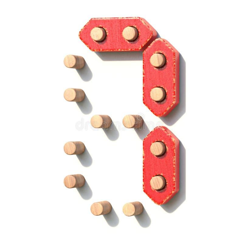 Ξύλινος κόκκινος ψηφιακός αριθμός 7 ΕΠΤΑ παιχνιδιών τρισδιάστατα απεικόνιση αποθεμάτων