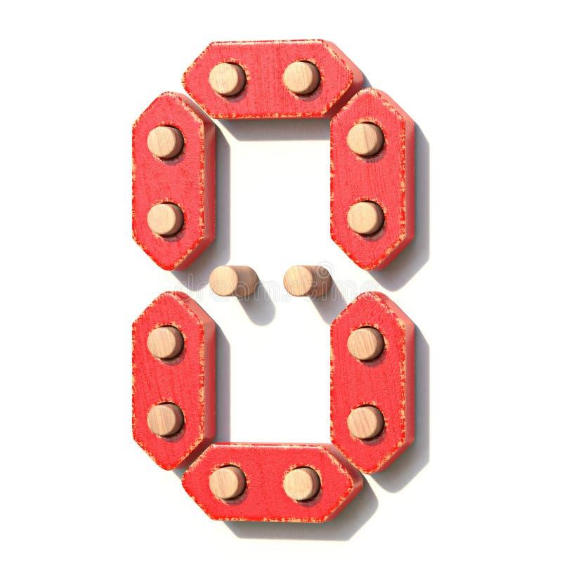 Ξύλινος κόκκινος ψηφιακός αριθμός 0 ΜΗΔΕΝ παιχνιδιών τρισδιάστατο διανυσματική απεικόνιση