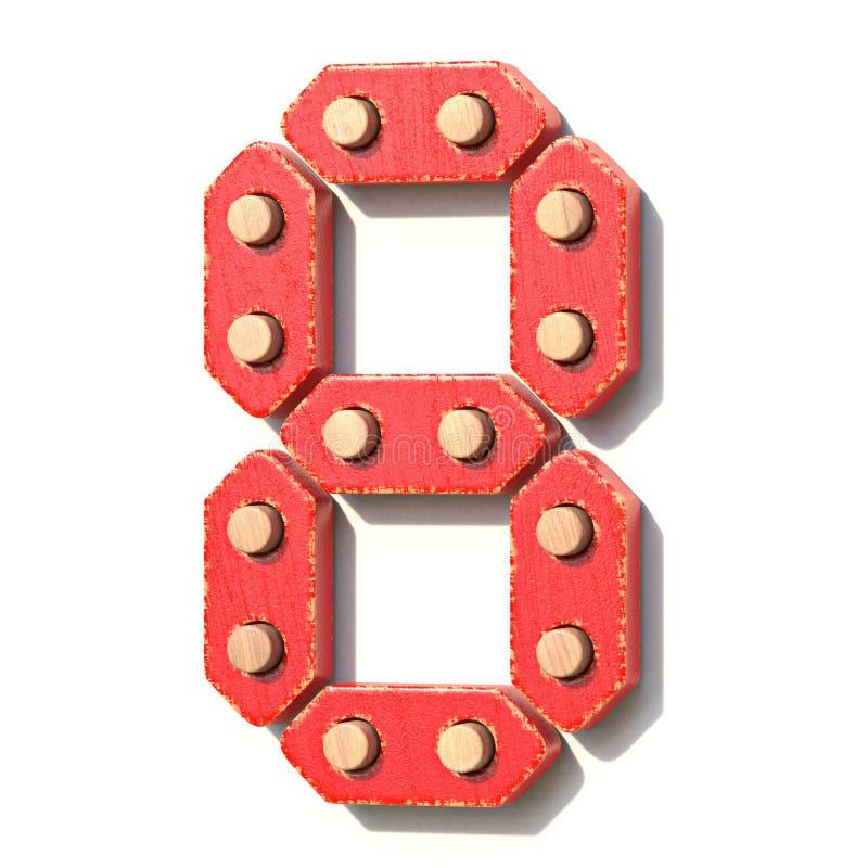 Ξύλινος κόκκινος ψηφιακός αριθμός 8 ΟΚΤΩ παιχνιδιών τρισδιάστατα διανυσματική απεικόνιση
