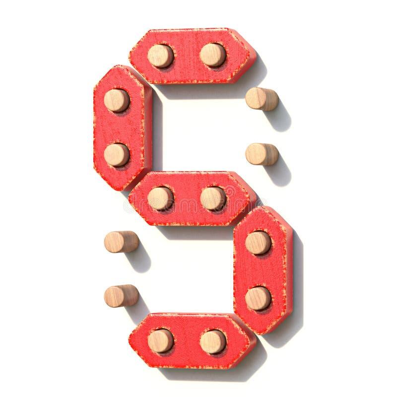 Ξύλινος κόκκινος ψηφιακός αριθμός 5 ΠΕΝΤΕ παιχνιδιών τρισδιάστατα διανυσματική απεικόνιση