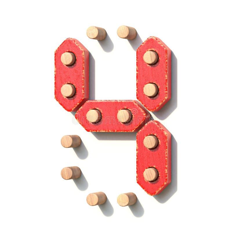 Ξύλινος κόκκινος ψηφιακός αριθμός 4 ΤΕΣΣΕΡΑ παιχνιδιών τρισδιάστατα διανυσματική απεικόνιση