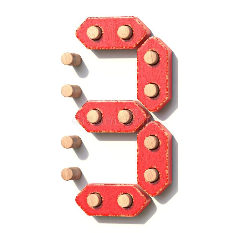 Ξύλινος κόκκινος ψηφιακός αριθμός 3 ΤΡΙΑ παιχνιδιών τρισδιάστατα ελεύθερη απεικόνιση δικαιώματος
