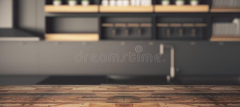 Ξύλινος μετρητής στην ταπετσαρία κουζινών ελεύθερη απεικόνιση δικαιώματος