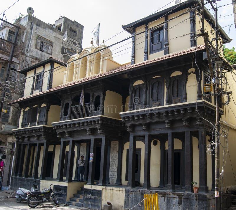 Ξύλινος ναός Bihari Banke της εποχής Indore Holkar στοκ εικόνες