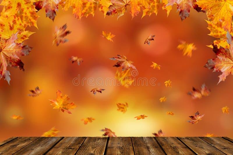 Ξύλινος πίνακας μπροστά από ένα ζωηρόχρωμο τοπίο φθινοπώρου στοκ φωτογραφία με δικαίωμα ελεύθερης χρήσης