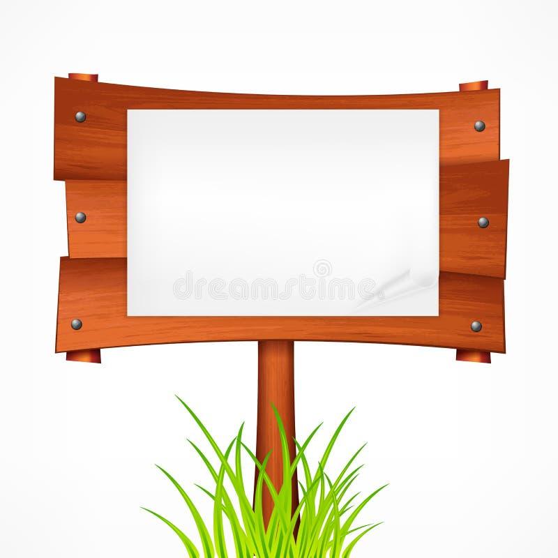 Ξύλινος πίνακας σημαδιών σε ένα ραβδί r διανυσματική απεικόνιση
