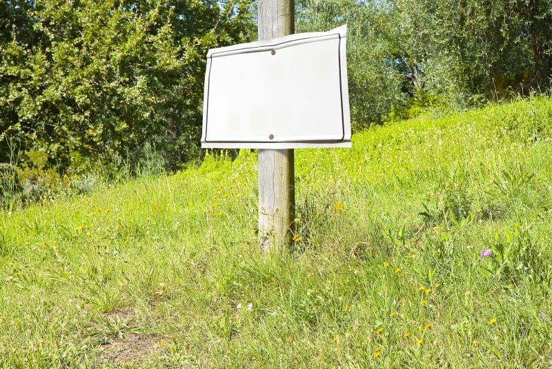 Ξύλινος πόλος σε ένα πράσινο λιβάδι με την κενή ένδειξη σημαδιών στοκ εικόνα