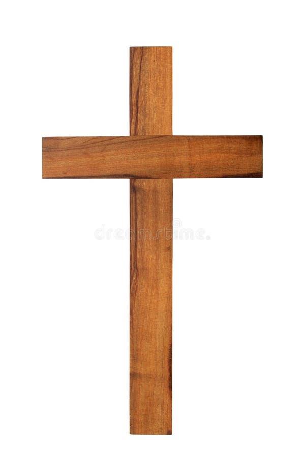 Ξύλινος σταυρός στο λευκό στοκ εικόνα με δικαίωμα ελεύθερης χρήσης