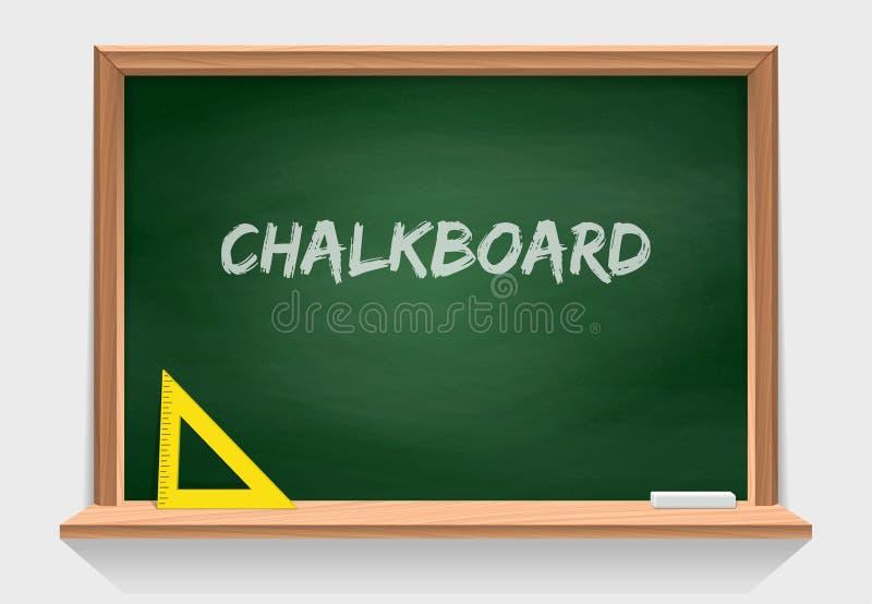 Ξύλινος σχολικός πίνακας κιμωλίας με την πράσινη σύσταση υποβάθρου Εργαλεία τάξεων Διανυσματικός απομονώστε στο λευκό ελεύθερη απεικόνιση δικαιώματος