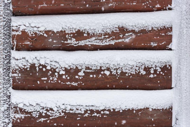 Ξύλινος τοίχος το χειμώνα στοκ φωτογραφίες