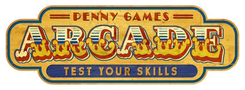 Ξύλινος τρύγος σημαδιών Arcade στοκ εικόνες με δικαίωμα ελεύθερης χρήσης