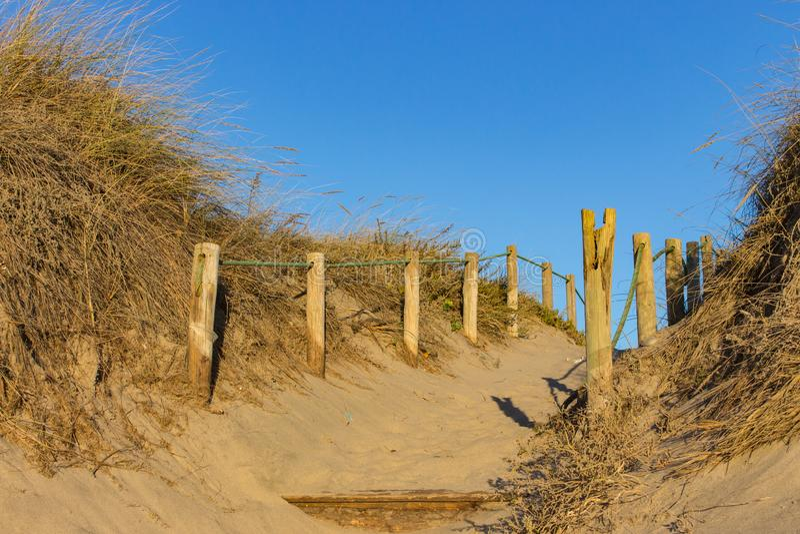 Ξύλινος φράκτης και ξηρά χλόη στην παραλία στο σαφή μπλε ουρανό Είσοδος στην παραλία Ηλιόλουστη όμορφη ημέρα στην ωκεάνια ακτή στοκ εικόνες